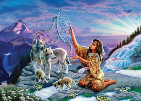 Spirit Wind - catcher, spirit, wolfs, indian, native, dream, american, woman