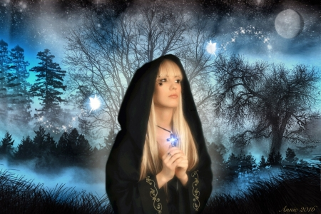 My Protection - forest, glow, blonde, woman, Fantasy, softness, blue and black, Evening, cloak, cross