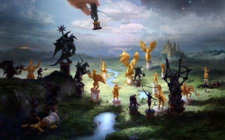 Fantasy chess - art, fantasy, luminos, hand, dragon, chess