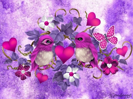Pink Love Birds 3d And Cg Abstract Background Wallpapers On Desktop Nexus Image 2168729