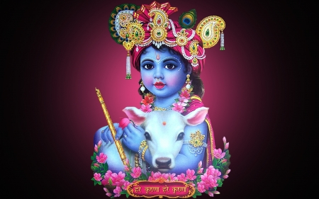 Baby Krishna Fantasy Abstract Background Wallpapers On