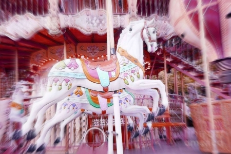 ✿⊱•╮Carousel Horses╭•⊰✿ - lovely still life, chic, amusement parks, paris, love four seasons, attractions in dreams, photography, carousel horses, beloved valentines, pink