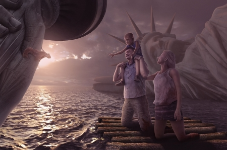 After Apocalypse - water, sea, animal, family, squirrel, fantasy, purple, statue of liberty, situation, veverita, creative, apocalypse
