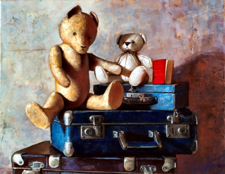 Traveling Teddy Bears  - art, beautiful, illustration, artwork, teddy bears, still life, stuffed animals, painting, toys