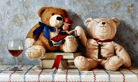 Teddy Bears and Toy Doll  - art, beautiful, doll, illustration, artwork, teddy bears, still life, stuffed animals, painting, wide screen, toys