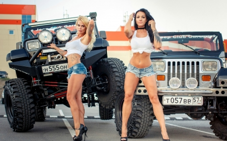 OffRoad Babes and their YJ Jeeps - brunette, models, jeans, shorts, jeeps, blonde
