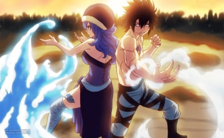 Water and Ice - Fairy Tail, Anime, Manga, Juvia Lockser, Gray Fullbuster, Water, Mage, Ice Make, Devil Slayer, Avatar Arc