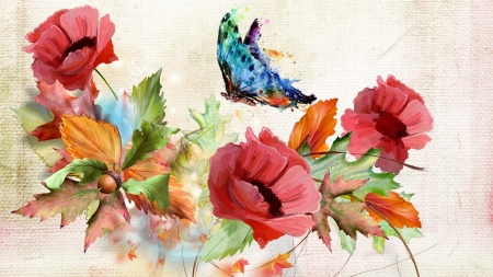 Autumn Poppies - fall, autumn, acorns, poppies, leaves, butterfly, flowers, Firefox Persona theme, watercolor