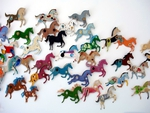 Flying colored horses