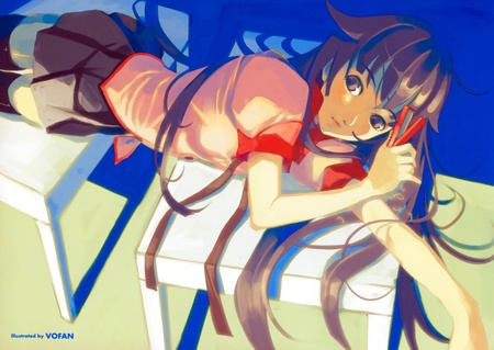 Fall Down At Desk - cute, anime girl, other, bakemonogatari