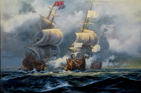 1697 - Battle of Hudson Bay - sailship, painting, waves, clouds, sky, sea