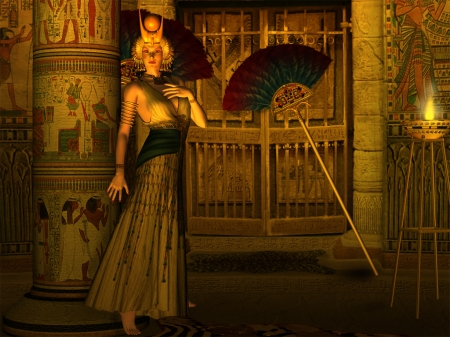 Child of Isis - Queen, Ancient Egypt, Column, Heiroglphics, Candelight