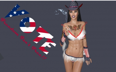 Cowgirls Vote.. - art, female, models, hats, cowgirl, freedom, fun, women, brunettes, vote, anime, drawing, girls, western, political, style