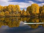kayak in autumn lake