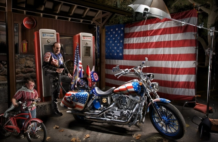 American Pride - HDR, high, patriotic, davidson, motorbike, flag, octane, photography, stars and stripes, captain america, harley