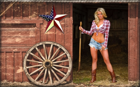 American West.. - female, models, cowgirl, boots, ranch, pitchfork, fun, outdoors, women, barn, wagon wheel, girls, fashion, blondes, western, style