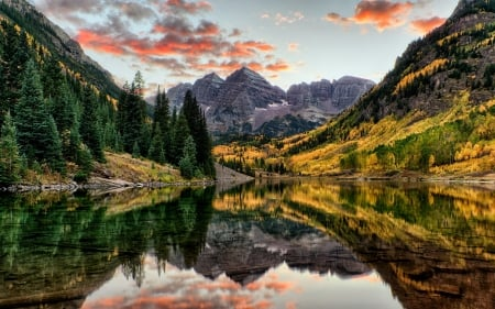 Maroon bells - forest, maroon bells, usa, lake