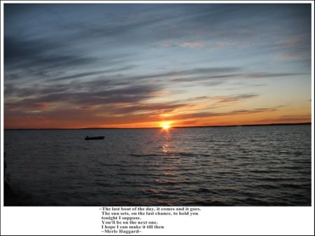 Last Boat Of The Day - songs, lakes, photography, water, Michigan, sunsets, nature