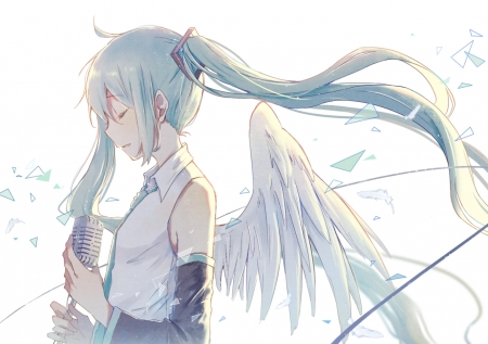 33 - hair, anime, angel, miku, blue