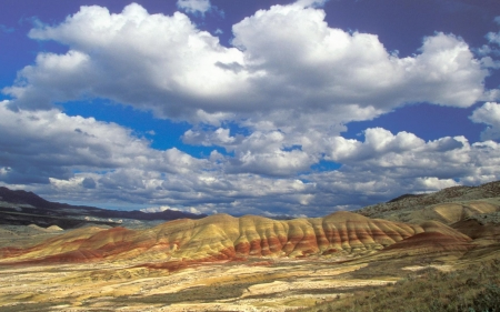 Painted Hills, Oregon - Painted Hills, clouds, desert, Oregon