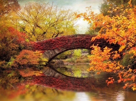 Autumn colors - colorful, autumn, bridge, central, beautiful, park, ny