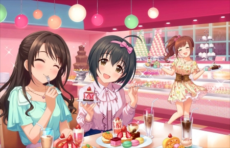 Cake Shop - cake, shop, pretty, cafe, hd, blush, adorable, eat, yum, sweet, cupcake, nice, yummy, good, anime, anime girl, table, delicious, female, lovely, food, smile, smiling, happy, cute, kawaii, girl, eating