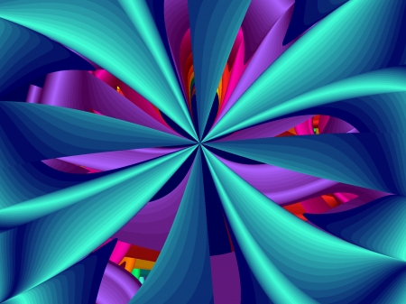 Cyan Windmill  - purple, MBF, fractals, abstract, blue