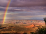 Rainbow over Atacama Desert in Chile