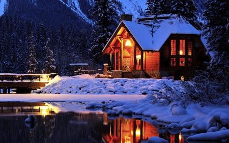 Cozy Cabin In Winter Winter Nature Background Wallpapers On Desktop Nexus Image 2172224