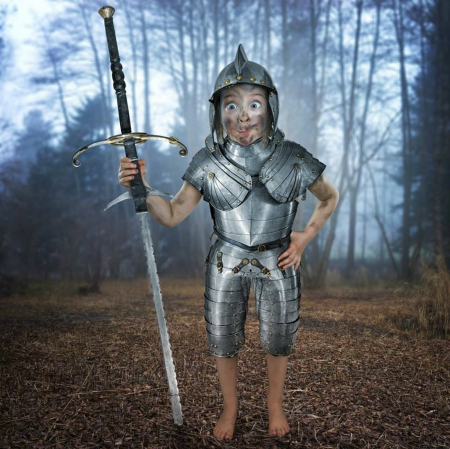 Just Don Quijote - copil, john wilhelm, quijote, fantasy, la mancha, funny, situation, girl, child, armor, creative