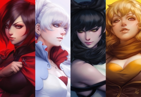 R W B Y - pretty, white hair, yellow, sweet, angry, nice, anime, beauty, anime girl, realistic, long hair, sword, lovely, gown, black, mad, blonde, rwby, sexy, cute, weiss schnee, sinister, blake belladonna, white, red, hd, blond, ruby rose, beautiful, blade, hot, black hair, female, blonde hair, blond hair, armor, yang xiao long, warrior, girl, silver hair, collages