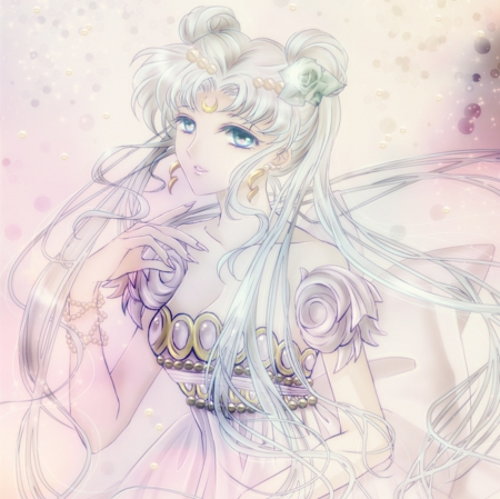 Moon Princess - pretty, dress, beautiful, sweet, nice, twin tail, anime, sailor moon, hot, beauty, anime girl, long hair, sailormoon, female, lovely, twintail, twintails, sexy, twin tails, princess serenity, girl, serenity, silver hair, princess