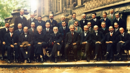 Solvay Conference (1927) - Werner Heisenberg, Charles Eugene, rare, Albert Einstein, Max Planck, brilliant minds, people, 1927, Madame Curie, Erwin Schrodinger, vintage, Brussels, photo, Niels Bohr, Auguste Piccard, inventors, Solvay Conference, Geniuses, important, Color, Marie Curie, Scientists, Old Photography, Peter Debye