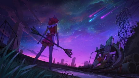You are not alone - stars, night sky, lol, skins, league of legends, Lux, magical girl, star guardian, anime, pink hair