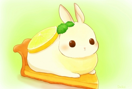 Bunny lemoncake - cake, rabbit, food, daikichi, manga, yellow, lemon, cute, green, anime, bunny