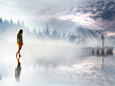 Walking to the light - Water, Trees, Sunbeams, Girl, Sunlight, Mist, Shadow