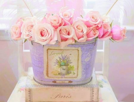✿⊱•╮Roses Pastel╭•⊰✿ - lovely still life, chic, romantic, paris, love four seasons, book, roses, still life, photography, flowers, nature, pastel, beloved valentines, pink