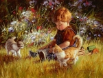 Little Boy with Kittens