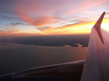 Sunset from a plane - beauty, water, air, sunset