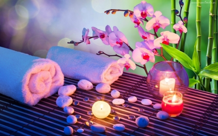*Mellow Spa* - calm, orchids, stones, beauty, relaxation, dream, pink, light, quiet, relax, peace, meditate, candles, serene, chill, spa, mellow, meditation