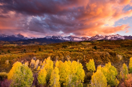 Autumn Storm in Colorado - season, colors, fall, sky, sunset, clouds, trees