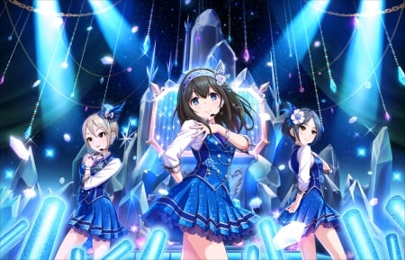 Blue Rhythm - superstar, pretty, sparks, shine, beautiful, dancing, sweet, nice, anime, beauty, anime girl, sing, stage, singing, light, blue, female, lovely, singer, spot light, girl, shining, spotlight, consert, dance