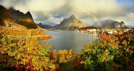 Rainbow over the Mountains - Rainbow, Mountain, Lake, Nature