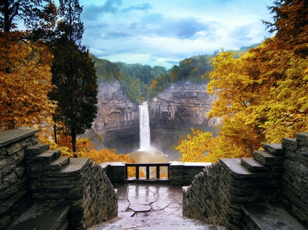 Taughannock Falls in Autumn, Ulysses, NY - season, water, fall, rocks, mountains
