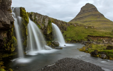 Kirkjufell, Iceland - waterfall, iceland, nature, mountain