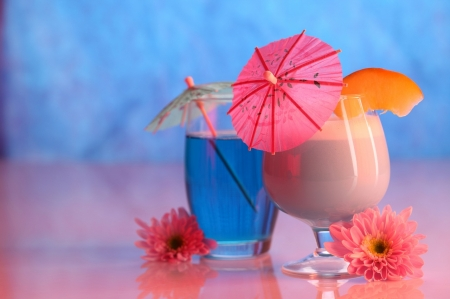 *Pretty Drinks* - pretty, liquid, juice, orange, umbrella, cocktails, beverage, sweet, smoothie, flowers, drink, treat, tropical, pink, blue