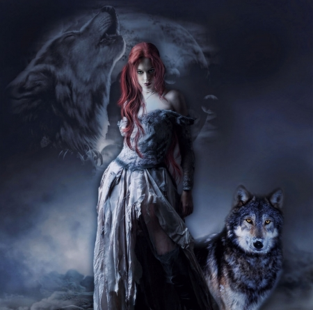 WOLF MOON - FEMALE, WOLVES, MOON, NIGHT