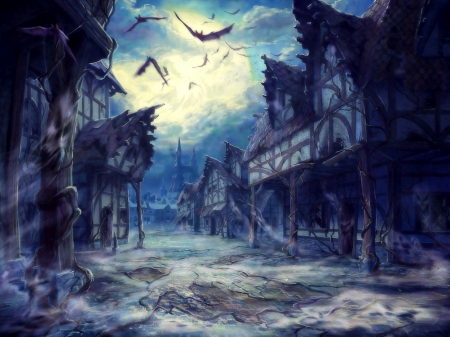 Ghost Town Fantasy Abstract Background Wallpapers On