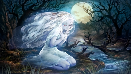 'Ghost whisperer'....... - forest, stream, ghost, mystidal, moonlight, night, whispers