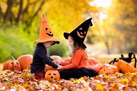 Happy Halloween! - witch, autumn, orange, halloween, children, hat, leaf, boy, girl, pumpkin, copil, couple